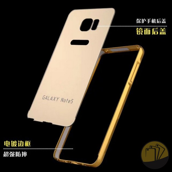 Ốp lưng tráng gương kiêm viền nhôm cho Samsung Galaxy Note 5