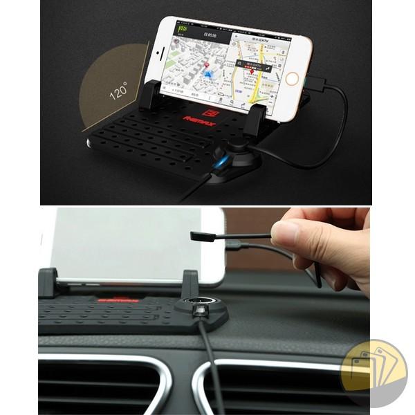 Giá đỡ kiêm sạc điện thoại trên xe hơi hiệu Remax