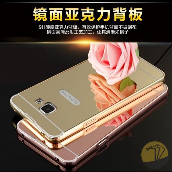 Ốp lưng tráng gương kiêm viền nhôm cho Samsung Galaxy A7 2016