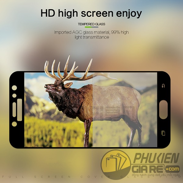 Kính cường lực Galaxy J7 Pro full màn hình, độ cứng 9H