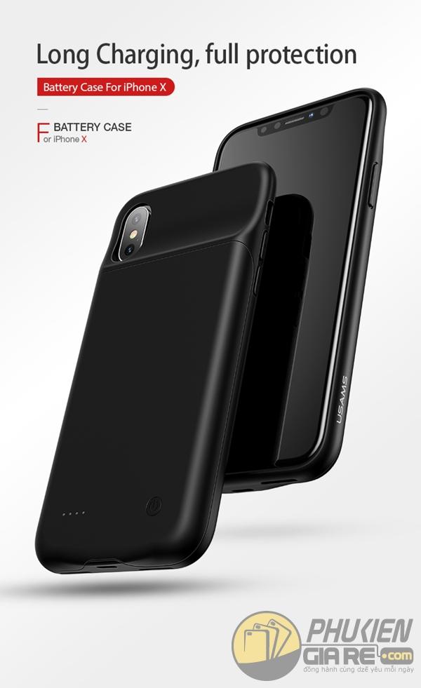 Ốp lưng kiêm pin dự phòng iPhone X Usams Battery Case 3200 mAh