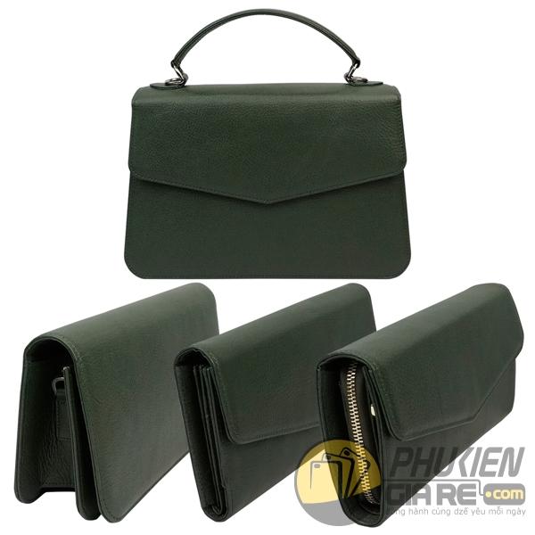 combo bộ bốn món túi xách ví da thời trang - túi xách da nữ - ví da nữ - set ví da túi xách 6011