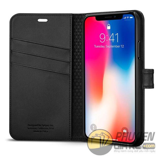 bao da iphone xs dạng ví - bao da iphone xs có quai gài - bao da iphone xs spigen wallet s (10136)