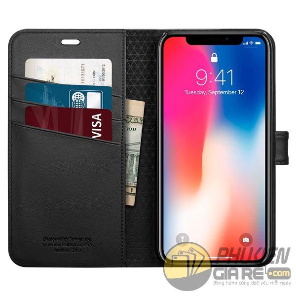 bao da iphone xs dạng ví - bao da iphone xs có quai gài - bao da iphone xs spigen wallet s (10137)
