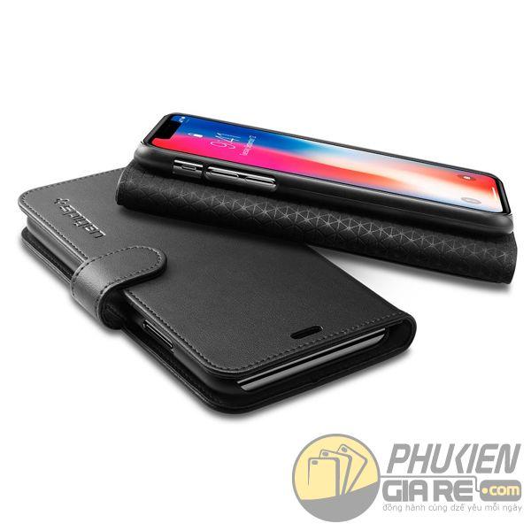 bao da iphone xs dạng ví - bao da iphone xs có quai gài - bao da iphone xs spigen wallet s (10138)