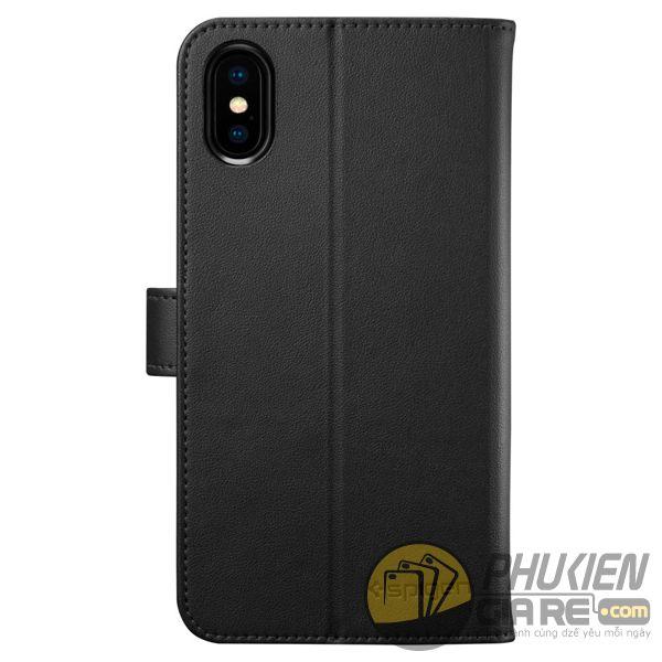 bao da iphone xs dạng ví - bao da iphone xs có quai gài - bao da iphone xs spigen wallet s (10140)
