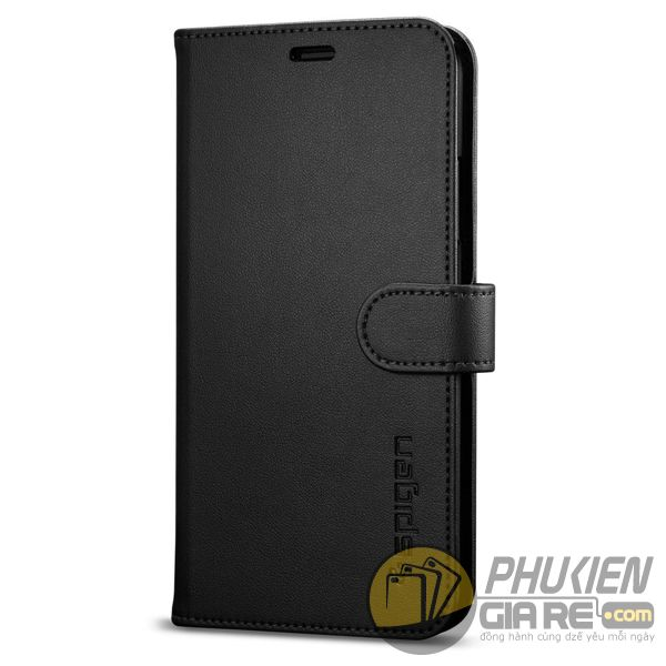 bao da iphone xs dạng ví - bao da iphone xs có quai gài - bao da iphone xs spigen wallet s (10143)
