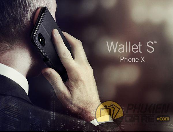 bao da iphone xs dạng ví - bao da iphone xs có quai gài - bao da iphone xs spigen wallet s (10144)