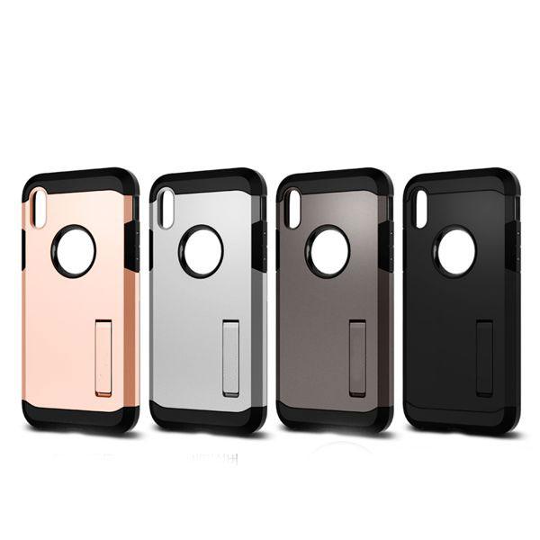 ốp lưng iphone xs chống sốc - ốp lưng iphone xs có đế chống ngang - ốp lưng iphone xs spigen tough armor (10117)