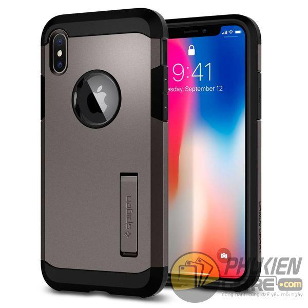 ốp lưng iphone xs chống sốc - ốp lưng iphone xs có đế chống ngang - ốp lưng iphone xs spigen tough armor (10119)
