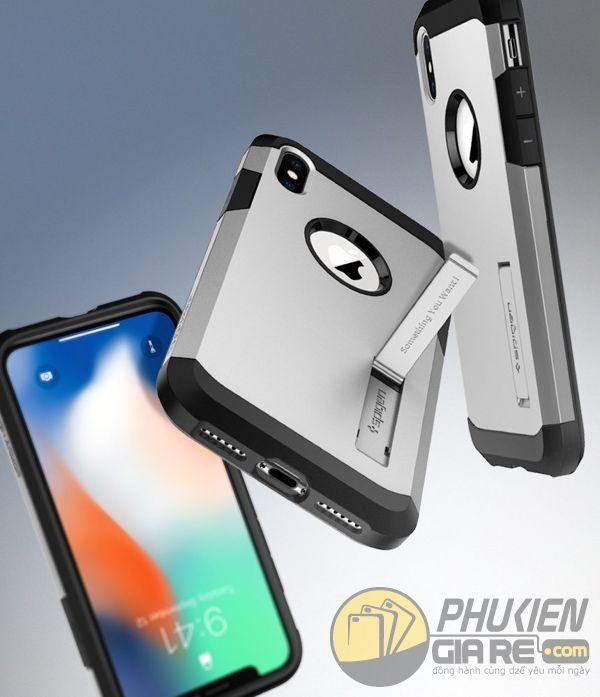 ốp lưng iphone xs chống sốc - ốp lưng iphone xs có đế chống ngang - ốp lưng iphone xs spigen tough armor (10121)