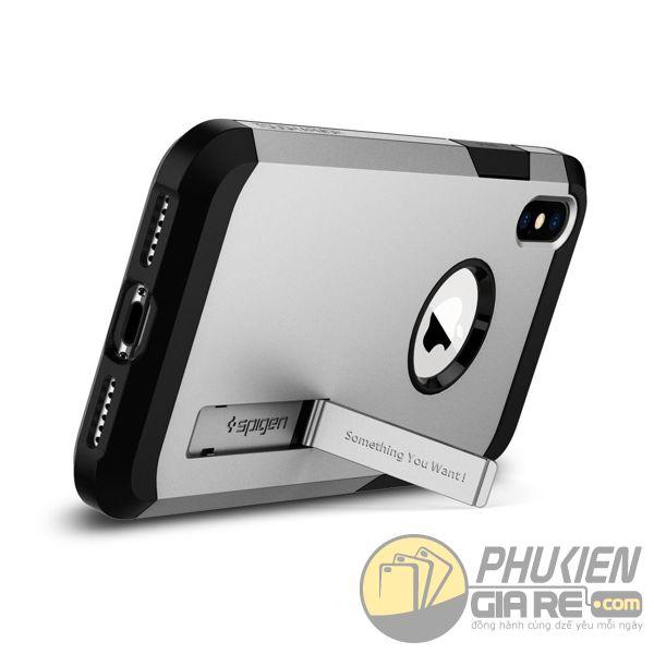 ốp lưng iphone xs chống sốc - ốp lưng iphone xs có đế chống ngang - ốp lưng iphone xs spigen tough armor (10123)