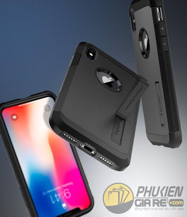 ốp lưng iphone xs chống sốc - ốp lưng iphone xs có đế chống ngang - ốp lưng iphone xs spigen tough armor (10124)