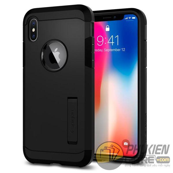 ốp lưng iphone xs chống sốc - ốp lưng iphone xs có đế chống ngang - ốp lưng iphone xs spigen tough armor (10125)