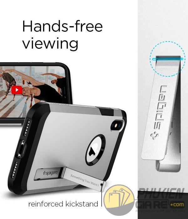 ốp lưng iphone xs chống sốc - ốp lưng iphone xs có đế chống ngang - ốp lưng iphone xs spigen tough armor (10133)