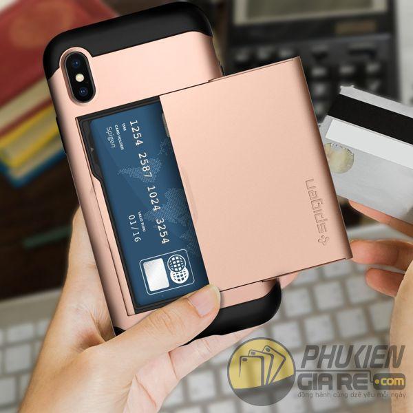 ốp lưng iphone xs đựng card - ốp lưng iphone xs chống sốc - ốp lưng iphone xs spigen slim armor cs (10146)
