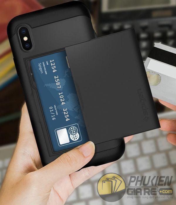 ốp lưng iphone xs đựng card - ốp lưng iphone xs chống sốc - ốp lưng iphone xs spigen slim armor cs (10148)