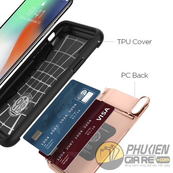 ốp lưng iphone xs đựng card - ốp lưng iphone xs chống sốc - ốp lưng iphone xs spigen slim armor cs (10151)