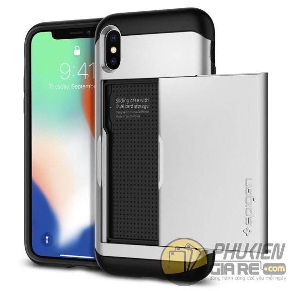 ốp lưng iphone xs đựng card - ốp lưng iphone xs chống sốc - ốp lưng iphone xs spigen slim armor cs (10157)