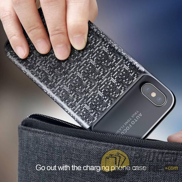 ốp lưng kiêm sạc dự phòng iphone x - ốp lưng iphone x kiêm sạc dự phòng - ốp lưng iphone x baseus plaid power bank (10164)