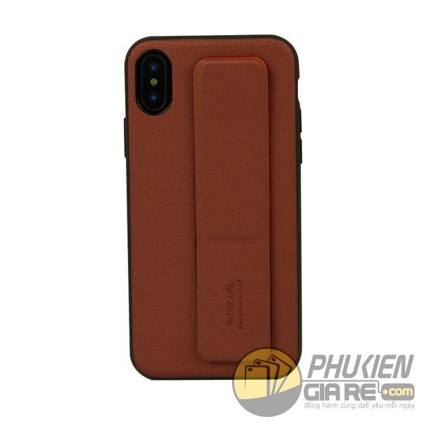 ốp lưng iphone x có đai cầm tay - ốp lưng iphone x có đế chống - ốp lưng iphone x ipearl leather grip (10893)