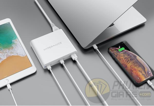 Sạc Macbook Dual USB-C/QC 4.0 Tích hợp USB-A QC 3.0 HyperJuice 87W