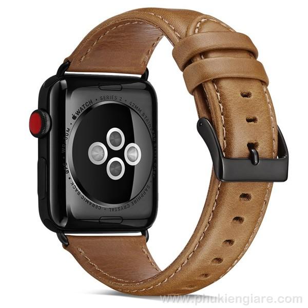 Dây đeo Apple Watch 42mm Kakapi Da trơn màu Vàng bò