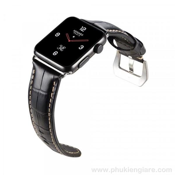 Dây đeo Apple Watch 44mm Kakapi Da Vân Cá Sấu
