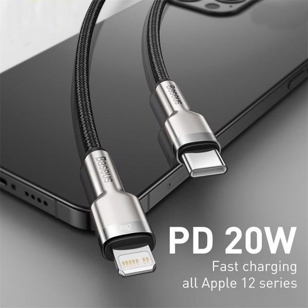 Cáp sạc USB-C to Lightning Baseus Cafule Metal Data PD 20W - Hàng Chính Hãng