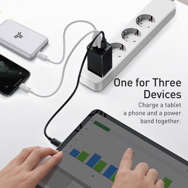 Bộ sạc nhanh Baseus GaN2 Pro Quick Charger 65W (Type Cx2 + USB , PD3.0/ PPS/ QC4.0/ SCP/ FCP Multi Quick Charge Protocol, GaN2 Technology) - Hàng Chính Hãng