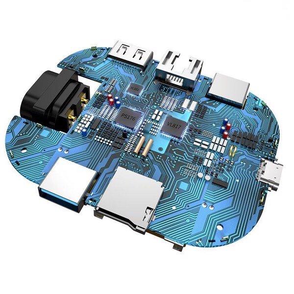 Bộ Hub mở rộng 7 in 1 tích hợp sạc 60W Baseus Type-C HUB Adapter AC Multifunctional Charger (USB 3.0*2 + HDMI + SD/TF + RJ45 , 60W, 5Gbps) - Hàng Chính Hãng