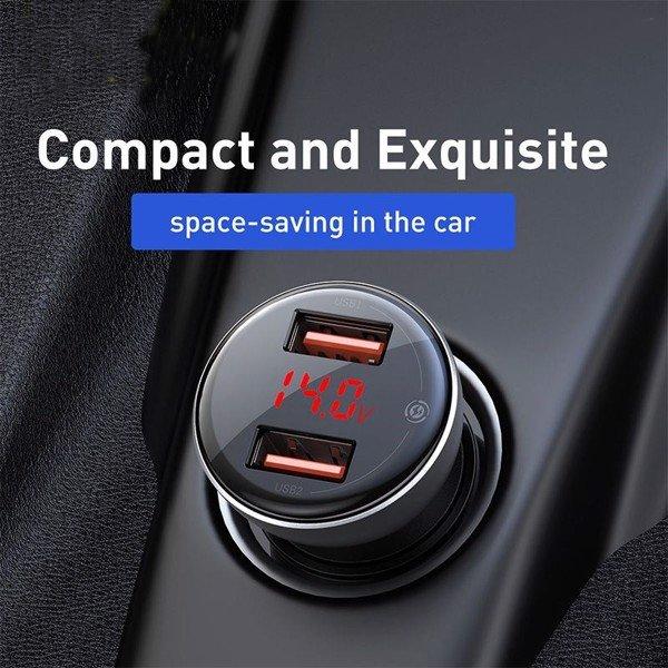 Tẩu sạc đa năng công suất cao Baseus Digital Display Dual SCP Quick Charger (45W, 2 Ports USB, LED Display, SPC/ QC4.0 Car Quick charger) - Hàng Chính Hãng