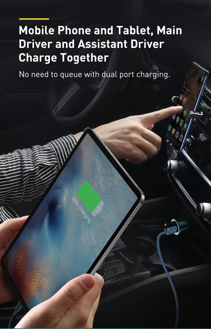 Tẩu Sạc Nhanh Cho Xe Hơi Baseus Golden Contactor Pro Dual Quick Charger Car Charger U+U 40W - Hàng Chính Hãng