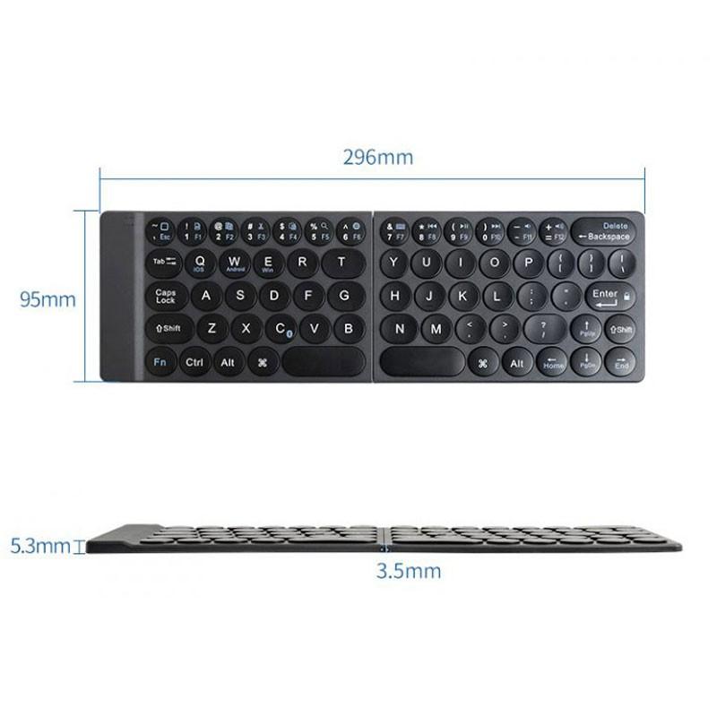 Bàn Phím Bluetooth Mipow Mini Slim-Fold Gập Siêu Mỏng Gọn MPC-003 - Hàng Chính Hãng