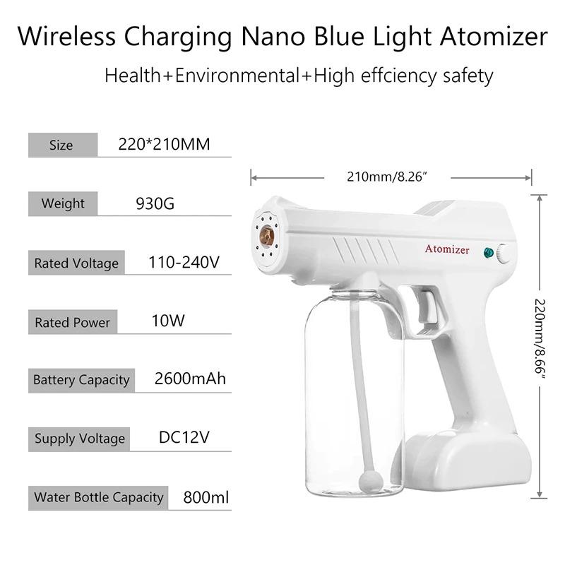 Súng Xịt Khử Khuẩn Atomizer Nano 8 LED có tia cực tím