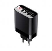 Củ sạc đa năng 4 cổng USB Baseus Mirror Lake Digital Display ( 30W, 4 Ports USB, Travel Charger) - Hàng Chính Hãng