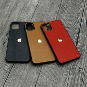 Ốp lưng iPhone 11 Pro Max GUDA - Da Bò Vân Mil kèm logo táo nhôm Version 2
