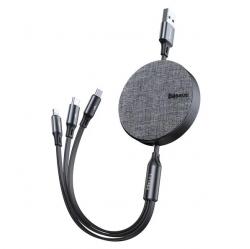 Cáp sạc dây rút Baseus Fabric 3-in-1 Flexible Cable tích hợp 3 đầu Type C / Micro USB/ Lightning 3.5A 1.2M - Hàng hính hãng